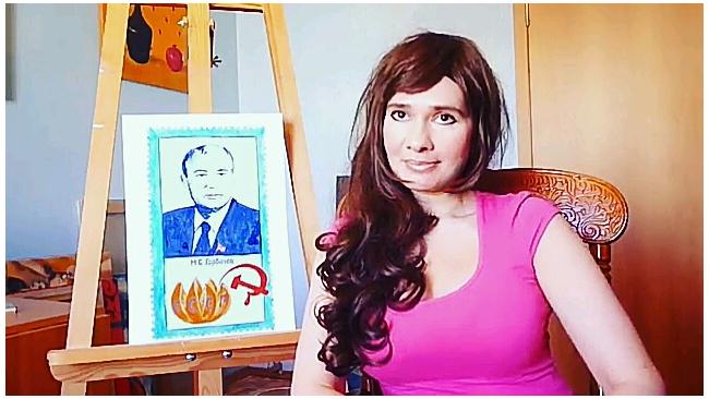В Петербурге художница нарисовала Горбачева грудью