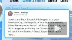 """Twitter счел сообщение Трампа """"угрозой насилием"""""""
