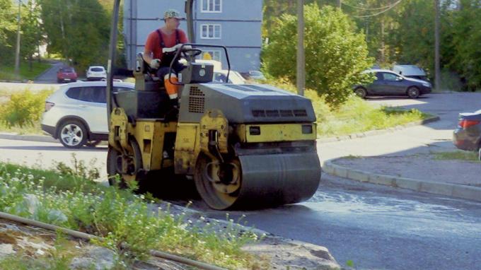 Ремонт дороги на Рубежной в Выборге