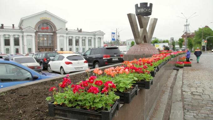 Озеленение Вокзальная площадь Выборг