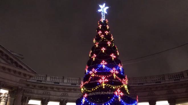 Петербуржцам показали гигантскую проекцию иконы на Казанском соборе