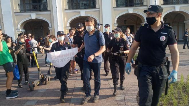 """У метро """"Гостиный двор"""" задержали пикетчиков"""