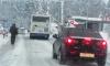 В Выборгском районе рейсовый автобус застрял на железнодорожном переезде