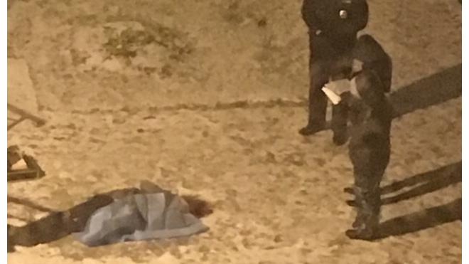 """Фото: на """"Новой Охте"""" под окнами жилого дома лежит труп"""