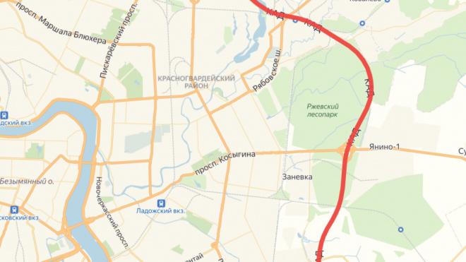Из-за ремонта КАД на востоке Петербурга ограничат скорость