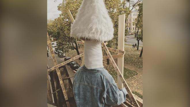 На Васильевском острове прошел необычный перформанс в исполнении художницы в костюме гриба