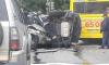 На Выборгском массовое ДТП с перевертышем: за пострадавшим прилетал вертолет