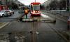 Светофор преградил путь трамваю у перекрестка улицы Коллонтай и проспекта Солидарности