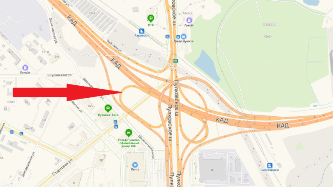 Съезд на развязке КАД с Пулковским шоссе будет перекрыт пять дней