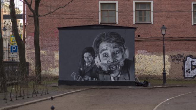 """Стрит-арт с героями """"Крутого пике"""" на Литейном закрасили"""