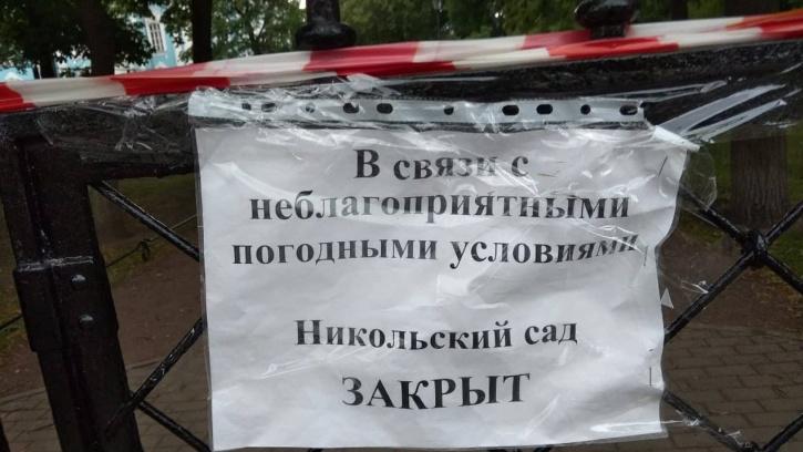 В Петербурге из-за непогоды закрыли восемь общественных садов