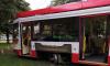 Трамвай сошел с рельс на площади Мужества