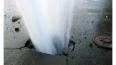 На севере Петербурга прорвало трубу с горячей водой, ...