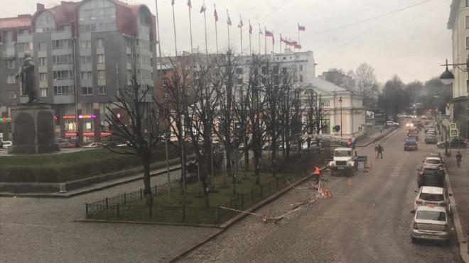 В Выборге движение по Северной улице в районе Красной площади ограничено