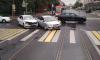 Трамваи встали из-за ДТП на перекрестке улицы Савушкина и Шишмаревского переулка
