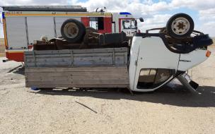 """В Астраханской области иномарка протаранила и опрокинула грузовую """"Газель"""" с похоронной процессией"""