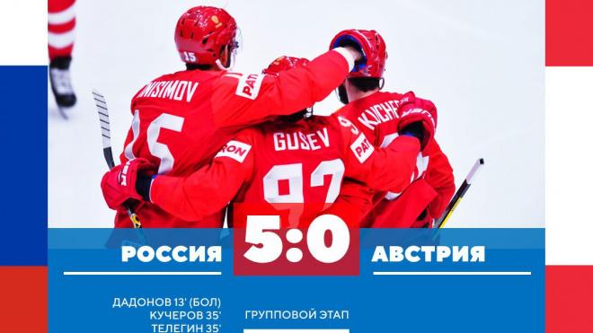 Россия разгромила Австрию со счетом 5:0