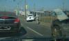 Иномарка протаранила ограждение на проспекте Маршала Блюхера