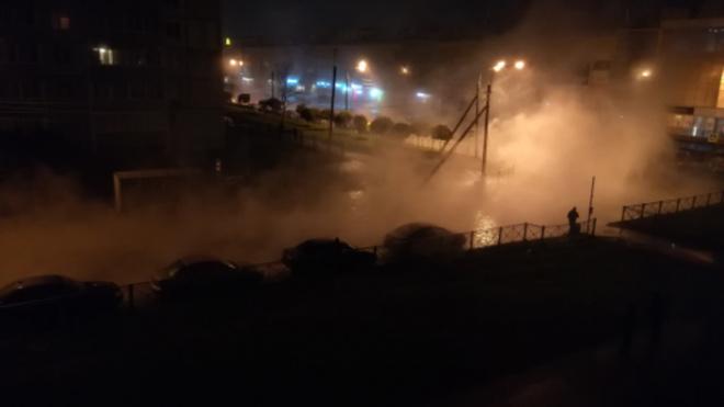 В Колпинском районе прорвало трубу с горячей водой, есть пострадавший