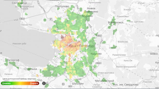 Дешевую квартиру в Петербурге можно найти по тепловой карте