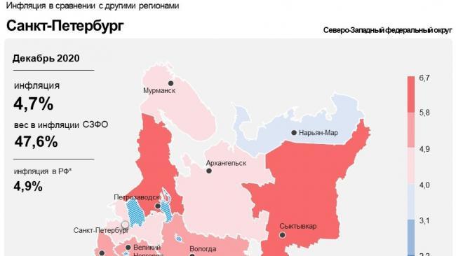 В декабре годовая инфляция в Петербурге составила 4,7%