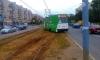 Купчинский дрифт: учебный трамвай сошел с рельсов на Димитрова