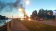 На Октябрьской набережной на ходу воспламенился мотоцикл