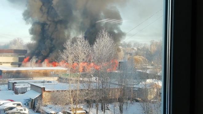 На Выборгском шоссе горит цех со складом пиломатериалов
