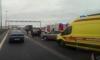 Из-за аварии на КАД у съезда к Пулково копится пробка