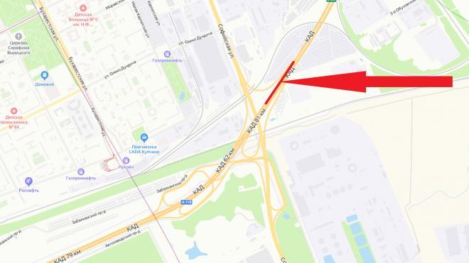 У развязки КАД с Софийской улицей на месяц перекроют две полосы
