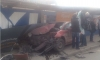 На Васильевском Citroen сплющило об забор: чудом никто не пострадал