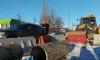 Трактор врезался в Infiniti на Ириновском проспекте