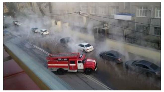 Греческий проспект перекрыт из-за прорыва трубы с горячей водой