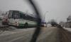 В Колпино пассажирский автобус снес столб