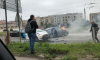 В ДТП на Дальневосточном загорелась машина