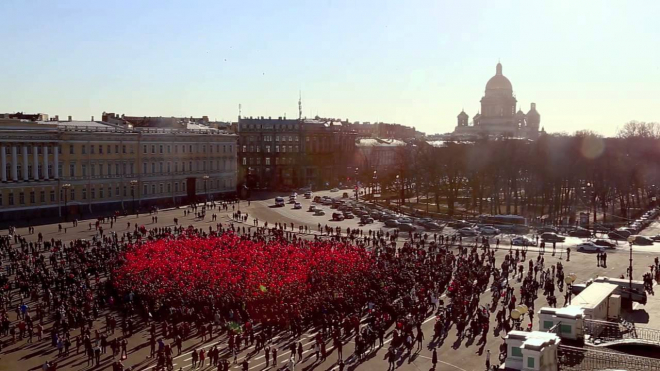 На Дворцовой устроили флешмоб за туристический Петербург