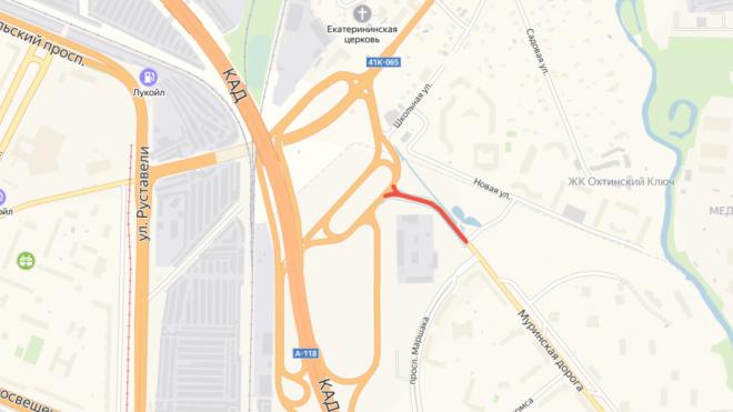 Муринскую дорогу на развязке КАД полностью закроют на четыре дня