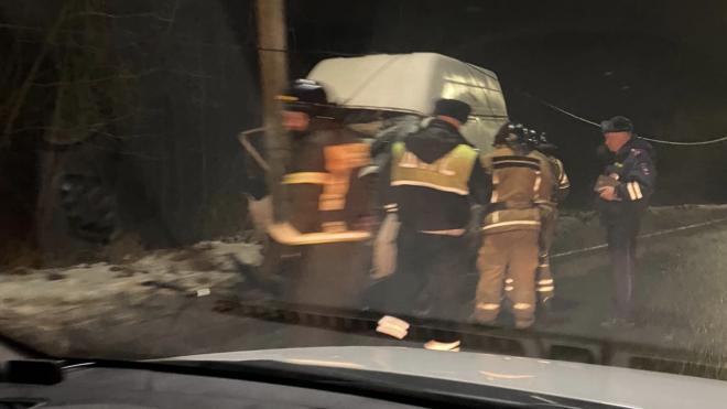 Спасатели в Петергофе вырезали водителя из фургона, угодившего в световую опору