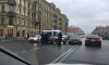 На Невском проспекте машина полиции столкнулась с иномаркой