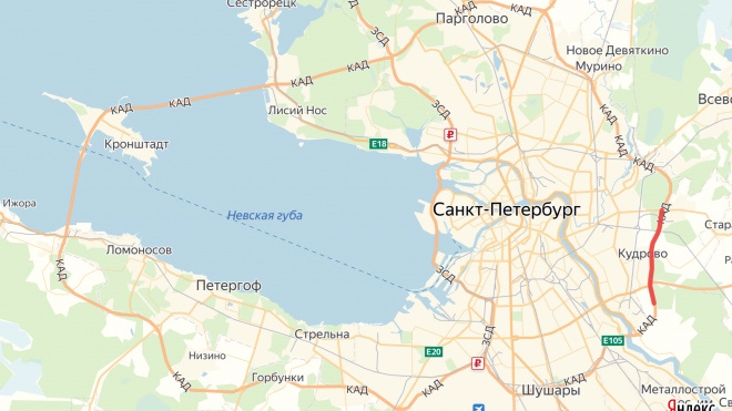 На КАД перекроют две полосы между Колтушским шоссе и Октябрьской набережной