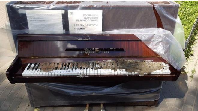 Неизвестные засыпали цементом уличное пианино наПетроградской стороне