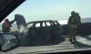 Автожесть на КАД: одна машина сгорела, две помялись от ударов