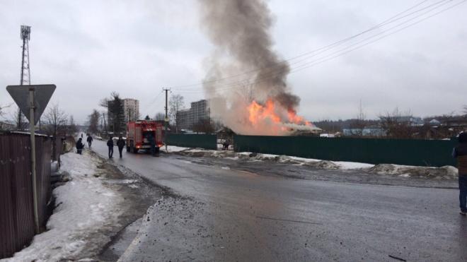 Во Всеволожском районе спасатели ликвидировали пожар в заброшенных зданиях