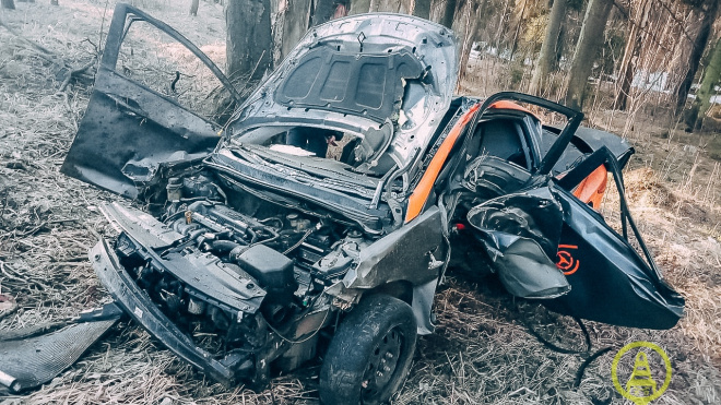 На Приморском шоссе каршеринг влетел в дерево на скорости 150 км/ч