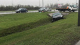 На Пулковском шоссе столкнулись две иномарки: одна ...