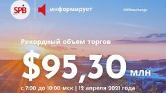 Санкт-Петербургская биржа зафиксировала рекордный объем торгов на утренней дополнительной сессии