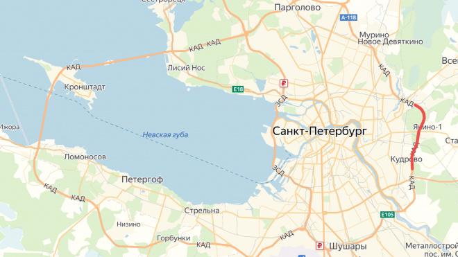 Две полосы на участке КАД между Рябовским и Мурманским шоссе перекроют на две недели