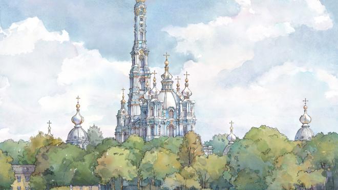 У Смольного собора хотят построить 168-метровую колокольню по проекту Растрелли