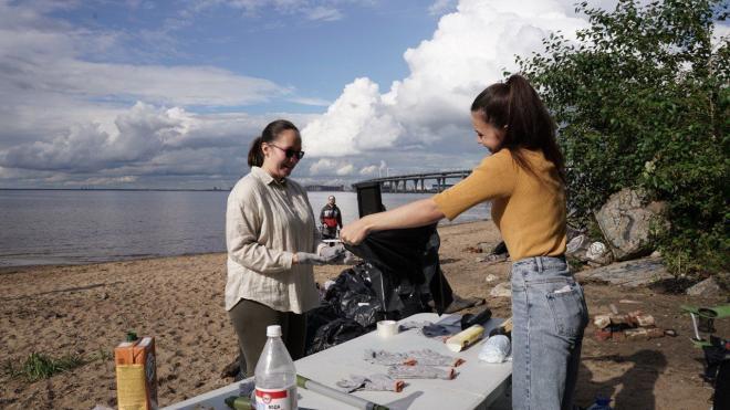 На пляже Канонерского острова активисты убирали мусор