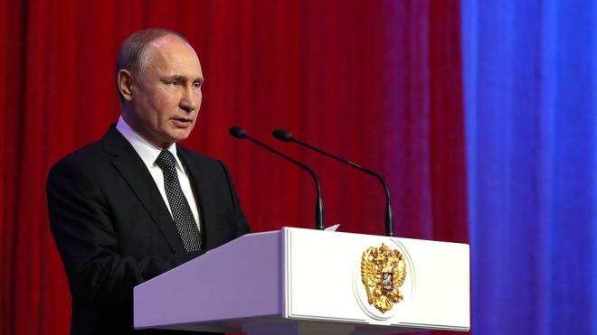 Путин в Кремле поздравил защитников Отечества с наступающим праздником